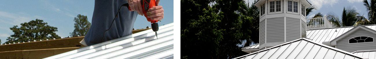 Close up of metal roof installation and close up of Florida commercial metal roof.