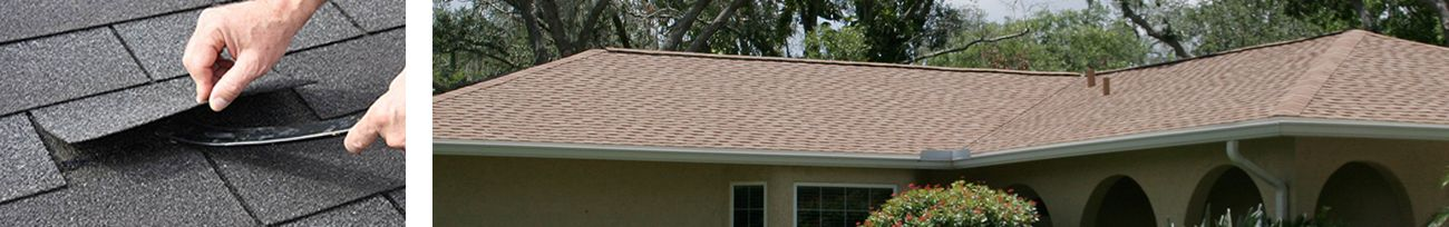 Close up of roof shingles and residential shingle roof.