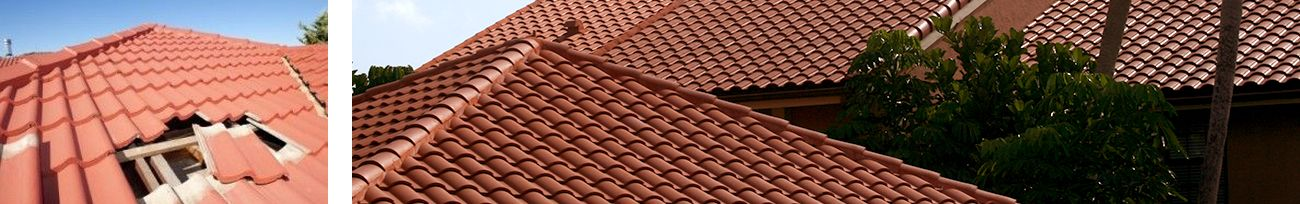 Close up of roofing tiles and close up of Florida condominium tile roof.
