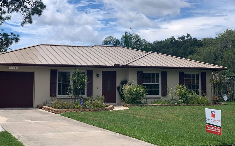 Residential metal roof by Florida Southern Roofing.