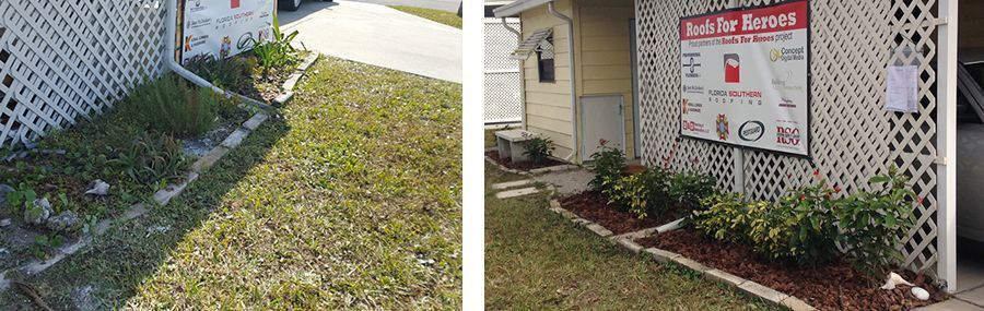 Before and after pictures of new plantings and mulch donated by Pestguard Commercial.