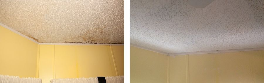 Before and after pictures of the ceiling that Matt Ryan of Matt Ryan Stucco & Plaster repaired with drywall donated by Construction Supply of Southwest Florida.